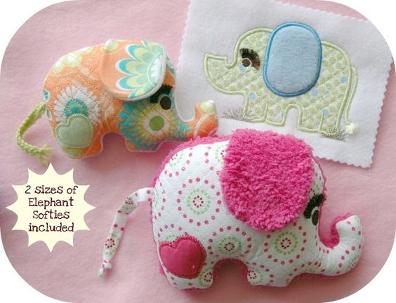 Elephant Softie Toys & Matching Applique Machine Embroidery Designs. $8.00, via Etsy.