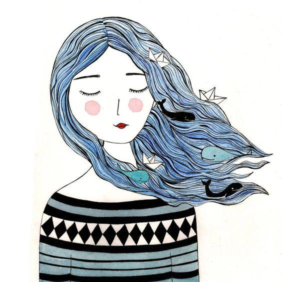tinavandijkart illustration watercolour girl