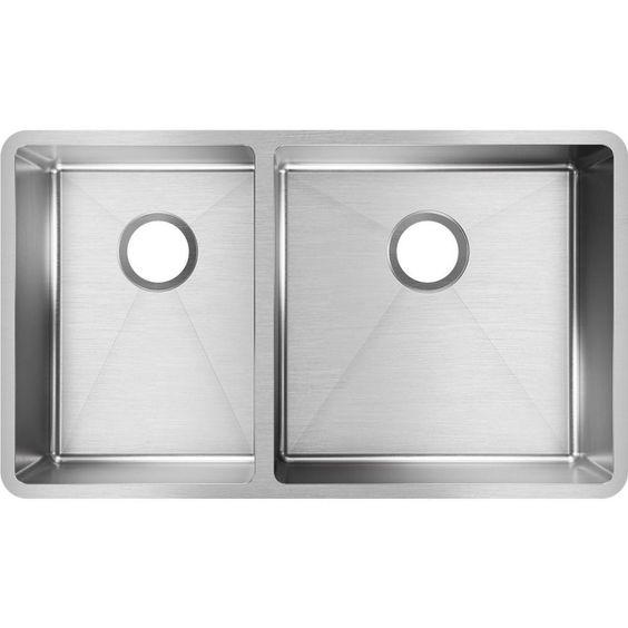 Elkay Crosstown Undermount Stainless Steel 32 In Double Bowl Kitchen Sink Ectru32179l Double Bowl Kitchen Sink Stainless Steel Kitchen Sink