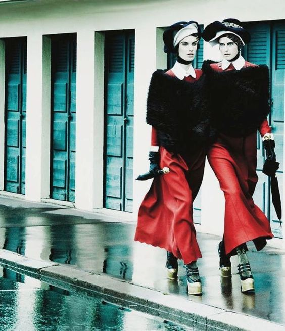 """Deauville Rendezvous""""    Stella Tennant & Marte Mei van Haaster by Mario Testino for Vogue UK September 2012"""