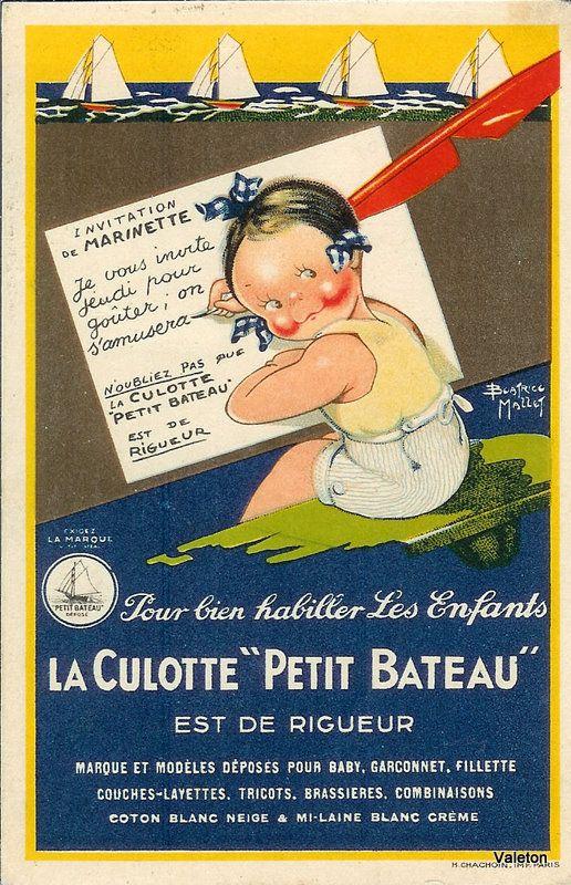 ¤ Publicité pour les Culottes Petit-Bateau, avec le personnage de Marinette, création Béatrice Mallet.