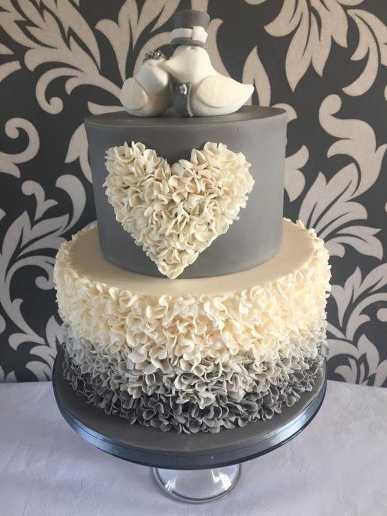 Ombré ruffle wedding cake by jenny lofthouse - http://cakesdecor.com/cakes/279531-ombre-ruffle-wedding-cake: