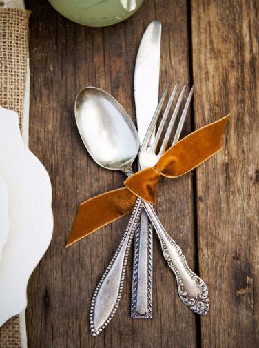 "#Thanksgiving place setting idea: tie your silverware up with a 6"" piece of ribbon for a more playful setting. Just remember to not to tie it up too tight!"