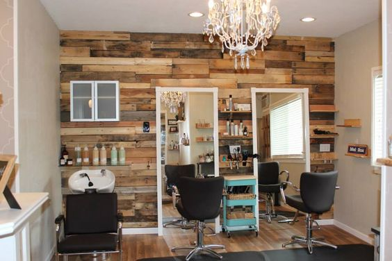 Sonora, Ca boutique,  Hair Salon Davines more inside, small salon, pallet wall, mint green, chandelier