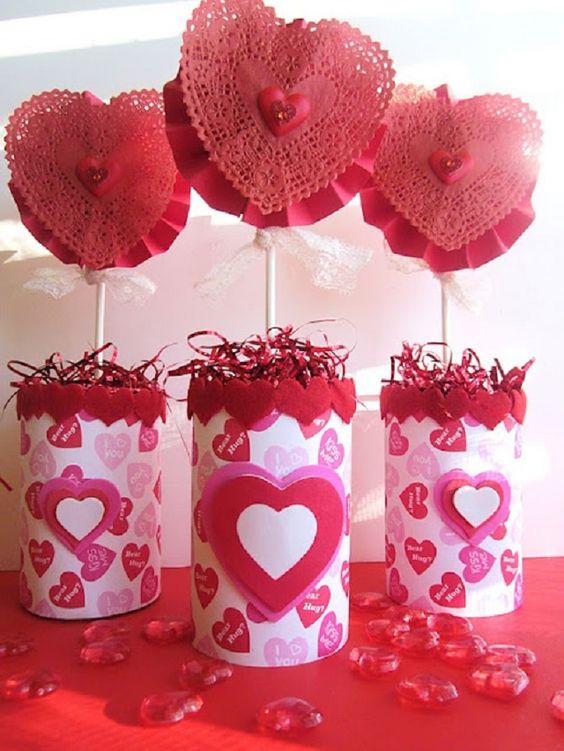 Salon De Clases Decorado De San Valentin ~ Especial de San Valentin Centro de mesa de corazones  Ideas para