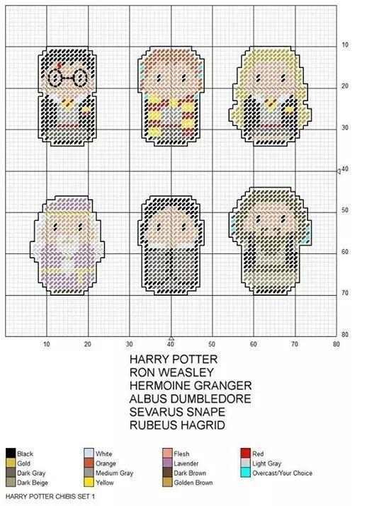 Harry Potter Chibis 1 Stitchdisney Harry Potter Chibis 1 Harry Potter Cross Stitch Pattern Cross Stitch Harry Potter Cross Stitch Bookmarks