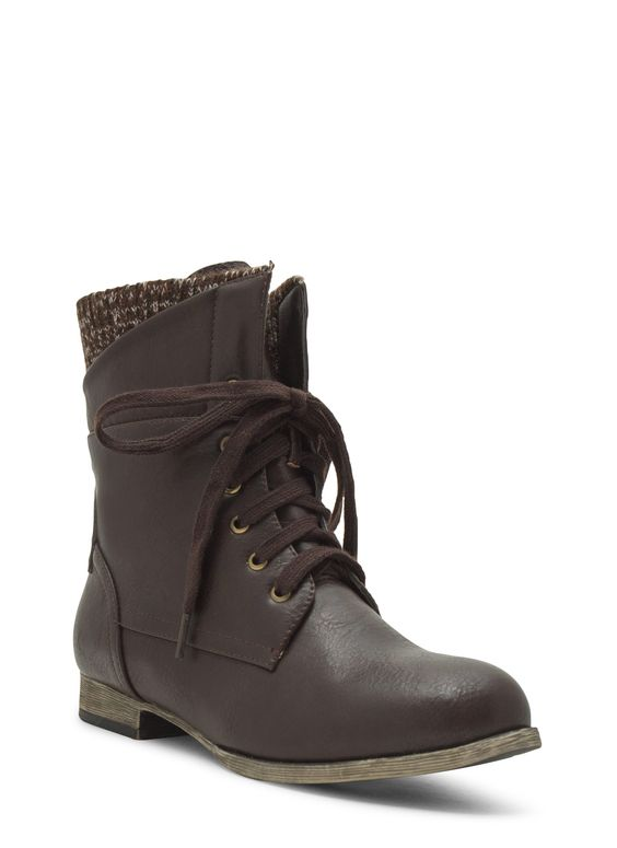 Sweater Weather Cuffed Lace-Up Boots BLACK BROWN WHISKY - GoJane.com