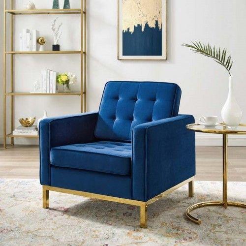 Blue Velvet Tufted Mid Century Modern Gold Leg Lounge Chair Blue Chairs Living Room Velvet Chairs Living Room Blue Velvet Chair Living Rooms