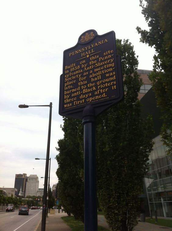 Pennsylvania Hall historic marker, on N. 6th St. below Race St.
