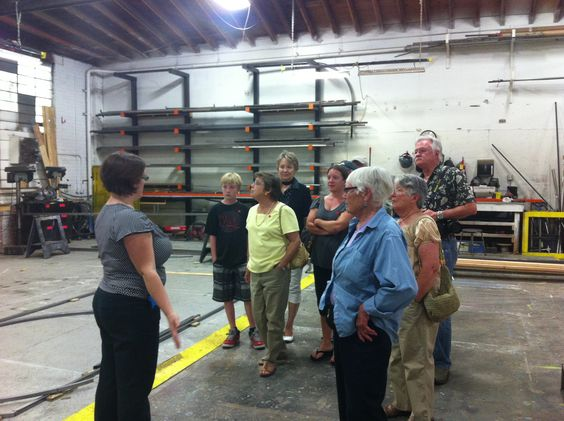 Inside Rehearsal guests tour the scene shop, led by Production Manager Tirzah Tyler. http://www.calshakes.org/v4/ourplays/2014/2014_comedy.html