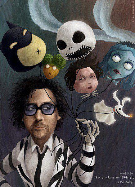 Tim Burton  - Beetlejuice  - Batman - Edward Scissorhands  - Nightmare Before Christmas - Corpse Bride - Jack Skellington - Zero