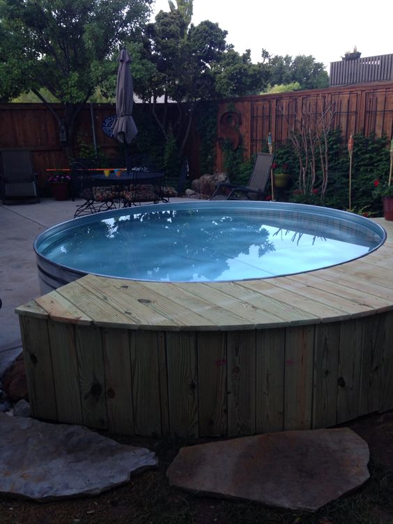 Stock tank pool for the home pinterest the o 39 jays pools and chic for Concrete stock tank swimming pool