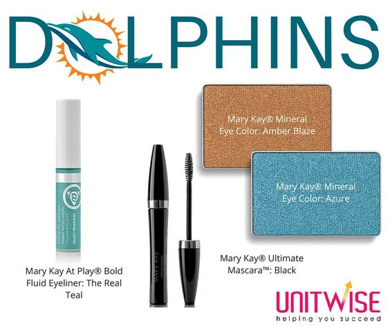 #NFL #Dolphins #MaryKay    Game Day Inspiration - Miami Dolphins  Contact me today to help you achieve your Favorite NFL Team look!   Jennifer Emanuel Mary Kay Sales Director Cell/Text: 214-405-2512  Email: jennemanuel@sbcglobal.net
