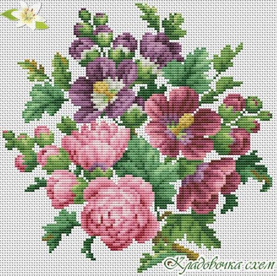 Пионы - Цветы - Схемы в XSD - Кладовочка схем - вышивка крестиком