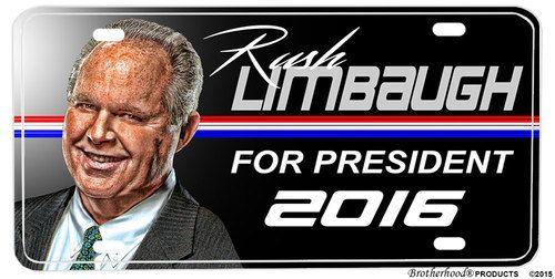 Rush Limbaugh For President 2016 License plate