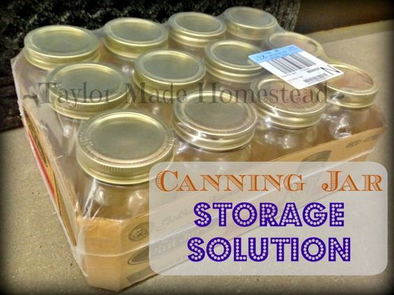 CANING JAR STORAGE SOLUTION - New canning jars are now sold in half boxes shrink-wrapped with plastic, I don't want to use them to store my empty jars. See what we did! #TaylorMadeHomestead: