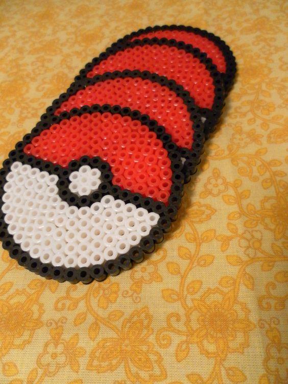 Pokemon Pokeball Perler Bead Coasters geek Set of FOUR. $15.00, via Etsy.