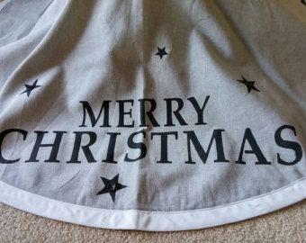 arpillera personalizada árbol de Navidad falda con por FromOldStuff
