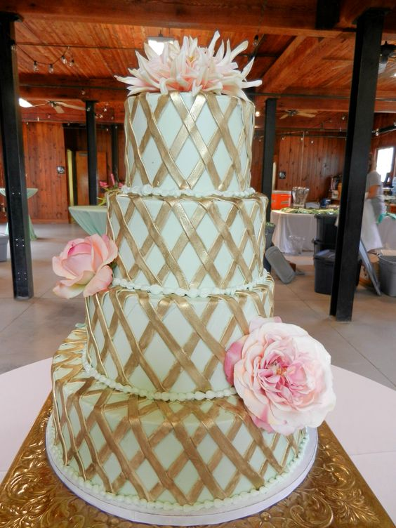mint green and gold wedding cake wwwcheesecakeetcbiz wedding cakes charlotte nc