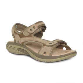Womens Tan Leather Sport Sandal with Adjustable Velcro Straps, Shock Absorbing Cushioned Insoles and Flexible Rubber Sole - £30 - www.steadandsimpson.com - #womens, #apparel, #shoes, #sandals, #sporty, #summer,