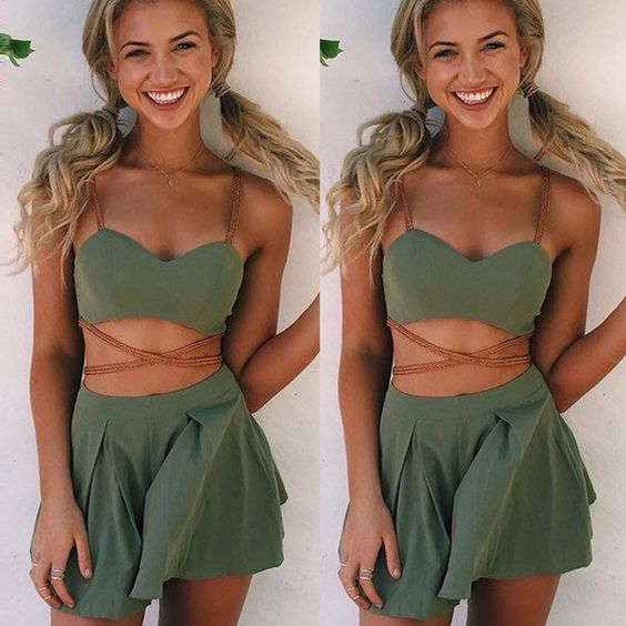 YJ Fashion 2 Piece Set Women Green Crop Top and Shorts Set Backless Zipper Up…