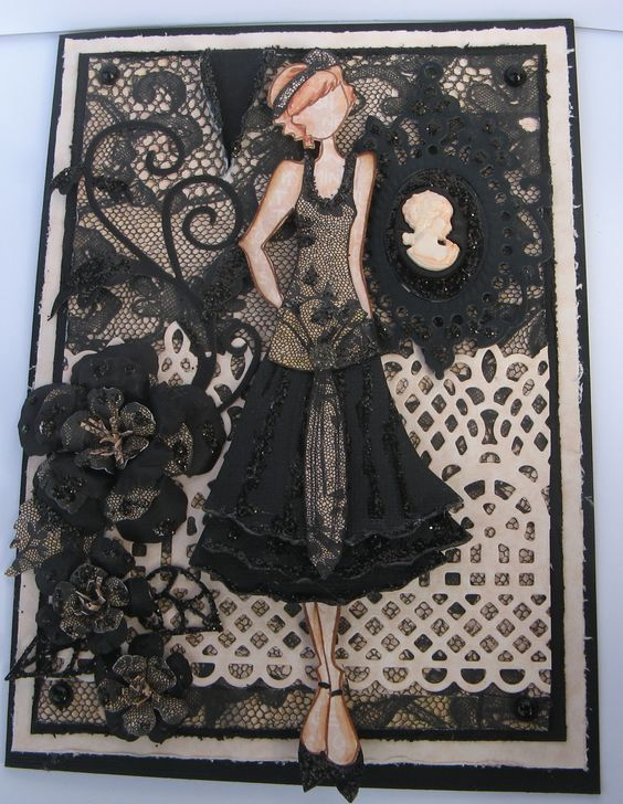 """Prima """"Ruby"""" doll by Julie Nutting - card created by Joanne Scott"""