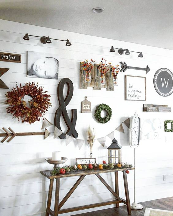 """This wall has been so fun to decorate (and redecorate!) If I could have 10 shiplap walls in my house.. I would. But the hubbs put the breaks on that one pretty fast saying ..."""" That would be a lot of decor!"""" He's probably right... I would want to decorate every single one of them! . Oh how I love all the local vintage finds in this picture! ❤❤ . . .#myjunkinfinds @therusticcoop @aratariathome @rustucmeadowshome @pinkribboncottage . #mycottagefarmhouse #ourgratefulhome #simplyfallmonday #slo..."""