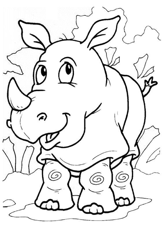 Un jeune rhinoc ros tout content colorier coloriages - Rhinoceros dessin ...