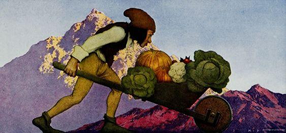 Maxfield Parrish Art Gallery | The Gardener Wheeling Vegetables from Knave of Hearts, 1925.jpg