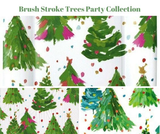 Brush Stroke Trees Party Banner