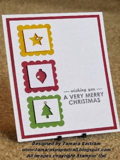Handmade Christmas Card; Wishing You; Merry Mini Punch Pack; Stampin' Up!; Tamara's Paper Trail