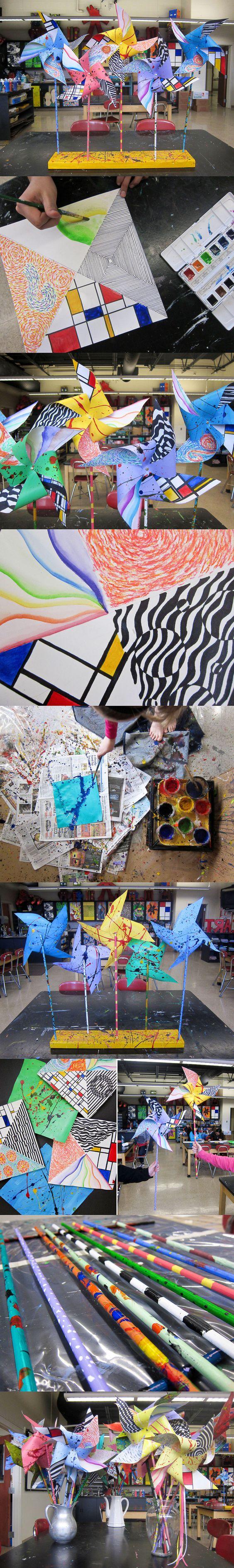 pinwheels: Artist Style, Art Class, Kids Art Project, Abstract Artists