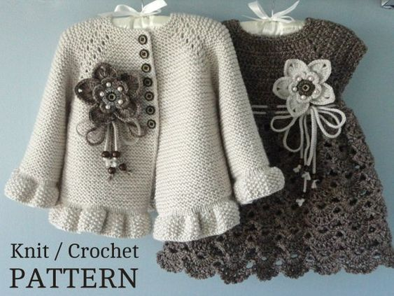 Knitting PATTERN Baby Jacket Crochet PATTERN Baby Dress Baby