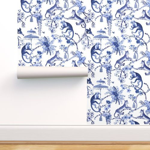 Colorful Fabrics Digitally Printed By Spoonflower Chinoiserie Whimsy Blue And White In 2021 Chinoiserie Wallpaper Chinoiserie Floral Toile