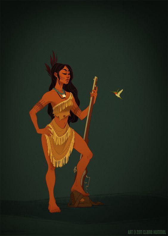 Pocahontas ® Claire Hummel http://garotasgeeks.com/wordpress/2013/05/16/princesas-da-disney-historicas/