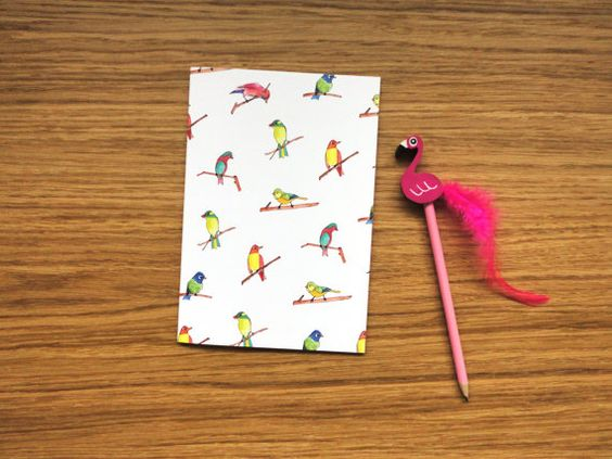 Lined Page A5 Notebook - Colourful Birds Notebook, Illustrated - lined page