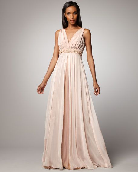 Rickie Freeman for Teri Jon  Beaded-Waist Gown