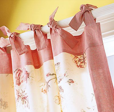 Tie top curtains, 2 prints.