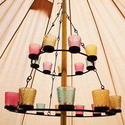 Beautiful tea light chandelier for bell tent