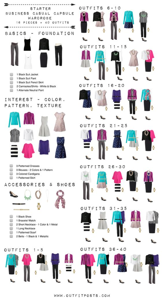 Outfit Posts: starter business casual capsule wardrobe checklist