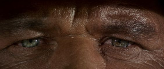Director Sergio Leone, cinematographer Tonino Delli Colli, and actor Charles Bronson give us one of the closest and most powerful close-ups in film history with this climactic view of Harmonica's pained eyes.