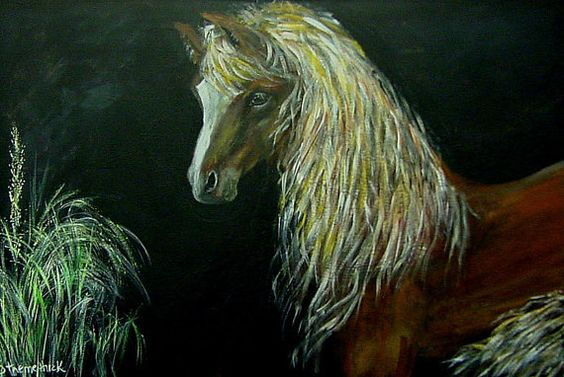 Lady Horse with the Golden Mane original by ThisArtToBeYours, $175.00