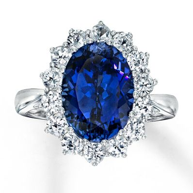 10K White Gold Blue & White Lab-Created Sapphire Ring: