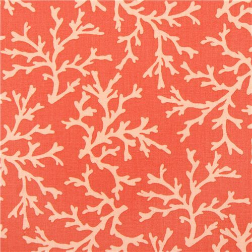 coral orange maritime fabric by Michael Miller Sea Coral 1
