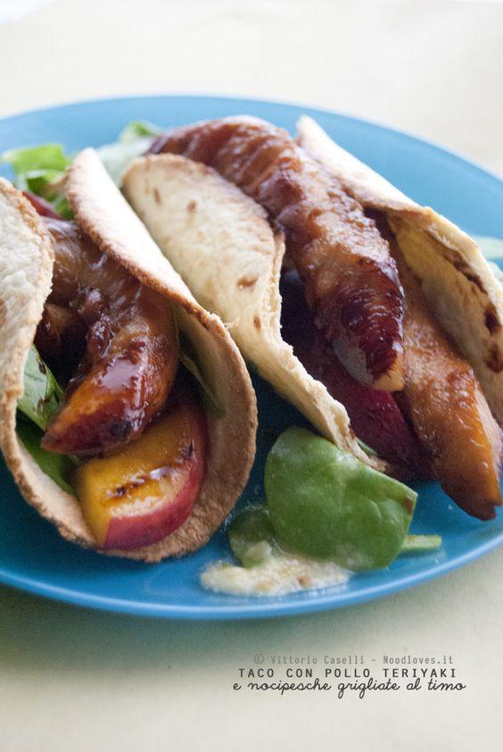 Taco con filetti di pollo teriyaki e nocipesche grigliate al timo Messico e…