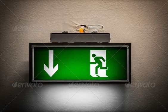 Exit Sign On The Wall Airport Arrow Background