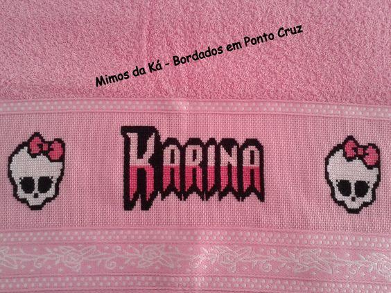 Toalha de Rosto - Monograma da Monster High - Karina