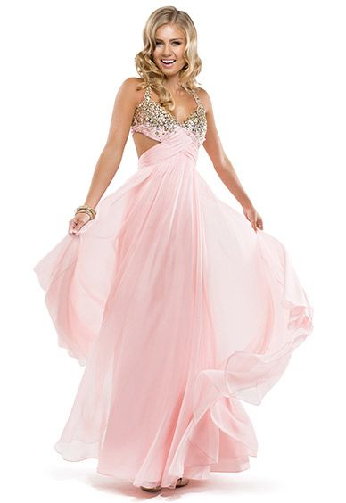 Flowy pink chiffon prom dress with bow by Flirt