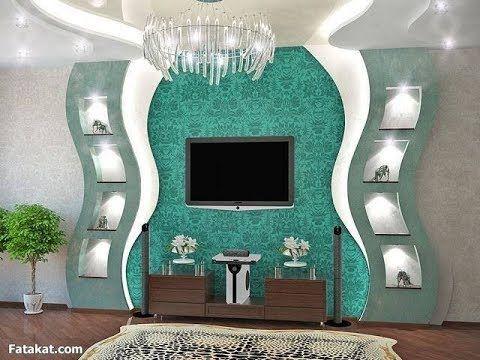 ديكورات شاشات جبس بورد احدث التصميمات Tv Wall Design Tv Unit Decor Modern Tv Wall Units