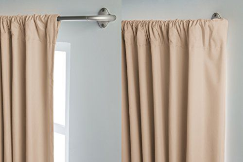 Amazonbasics Room Darkening Curtain Rod 28 To 48 Nickel 244242 411 A60 Curtain Rods Curved Curtain Rods Curtains